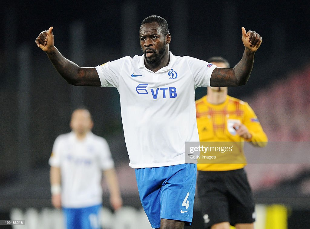 <a gi-track='captionPersonalityLinkClicked' href=/galleries/search?phrase=Christopher+Samba&family=editorial&specificpeople=739114 ng-click='$event.stopPropagation()'>Christopher Samba</a> of Dinamo Moskva in action during the UEFA Europa League Round of 16 football match between SSC Napoli and FC Dinamo Moskva at the San Paolo Stadium on March 12, 2015 in Naples, Italy.