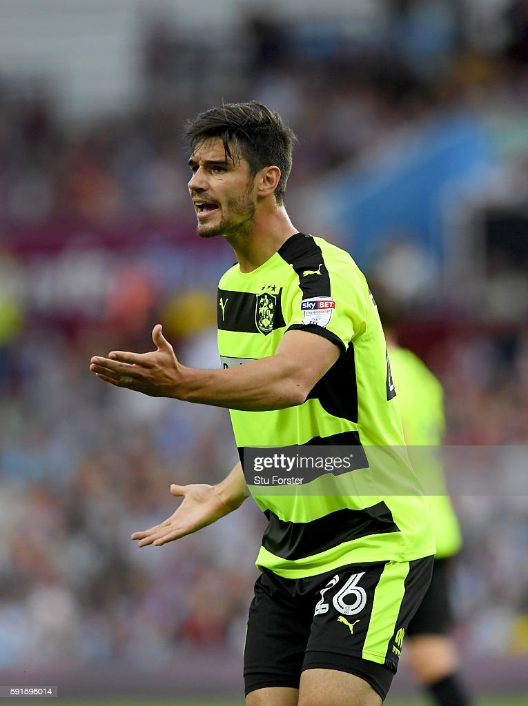 Christopher Schindler of Huddersfield in action during the Sky Bet Championship match between Aston Villa and Huddersfield Town at Villa Park on August 16, 2016 in Birmingham, England.