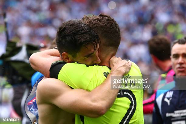 Christopher Schindler of Huddersfield Town and Tommy Smith of Huddersfield Town during the Sky Bet Championship Play Off Final match between Reading...
