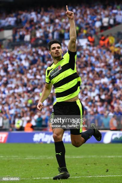 Christopher Schindler of Huddersfield Town celebrates after scoring the winning penalty during the Sky Bet Championship Play Off Final match between...