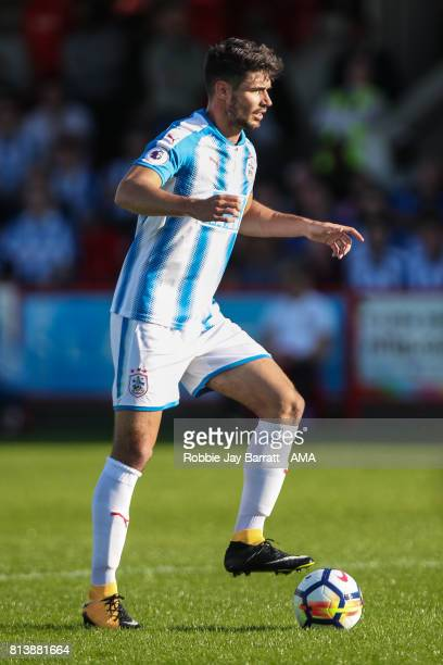 Christopher Schindler of Huddersfield Town during the preseason friendly match between Accrington Stanley and Huddersfield Town at Wham Stadium on...