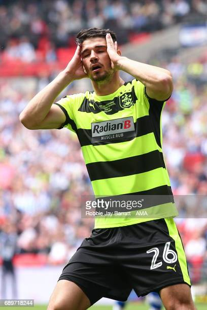 Christopher Schindler of Huddersfield Town reacts during the Sky Bet Championship Play Off Final match between Reading and Huddersfield Town at...