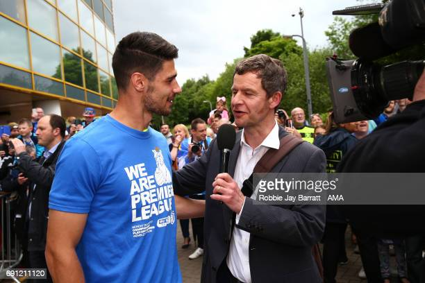 Christopher Schindler of Huddersfield Town speaks with Paul Ogden BBC Reporter on May 30 2017 in Huddersfield England Christopher SchindlerPaul Ogden