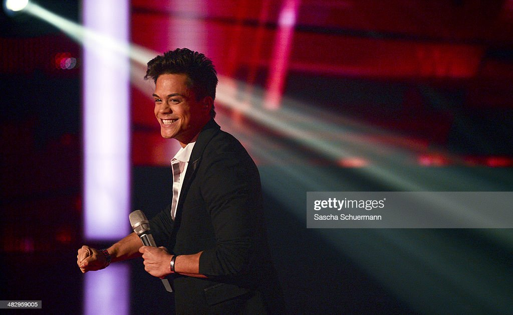 Christopher Schnell performs at the rehearsal for the 2nd 'Deutschland sucht den Superstar' (DSDS) show at Coloneum on April 5, 2014 in Cologne, Germany.