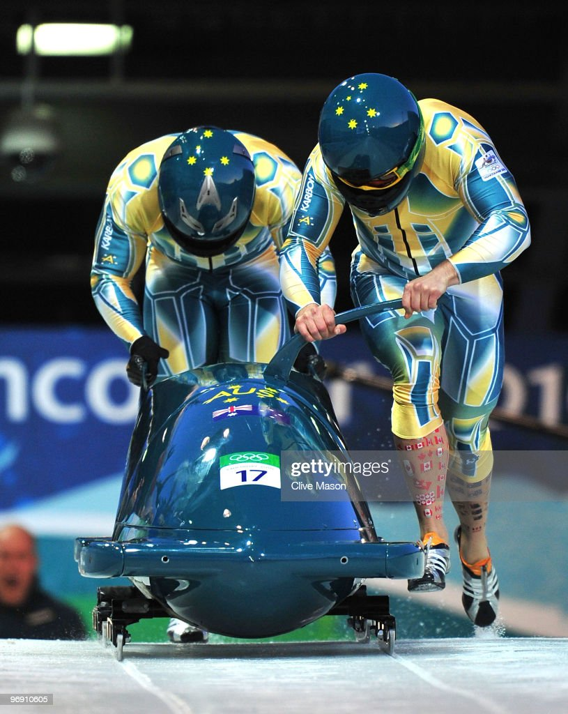 Christopher Spring and Duncan Harvey of Australia compete in Australia1 during the men's bobsleigh twoman heat one on day 9 of the 2010 Vancouver...