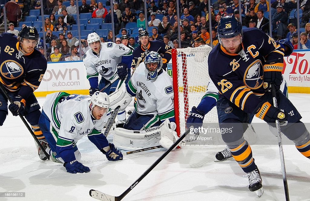 <a gi-track='captionPersonalityLinkClicked' href=/galleries/search?phrase=Christopher+Tanev&family=editorial&specificpeople=7228624 ng-click='$event.stopPropagation()'>Christopher Tanev</a> #8 and goaltender <a gi-track='captionPersonalityLinkClicked' href=/galleries/search?phrase=Roberto+Luongo&family=editorial&specificpeople=202638 ng-click='$event.stopPropagation()'>Roberto Luongo</a> #1 of the Vancouver Canucks defend against <a gi-track='captionPersonalityLinkClicked' href=/galleries/search?phrase=Thomas+Vanek&family=editorial&specificpeople=570606 ng-click='$event.stopPropagation()'>Thomas Vanek</a> #26 and <a gi-track='captionPersonalityLinkClicked' href=/galleries/search?phrase=Marcus+Foligno&family=editorial&specificpeople=5662790 ng-click='$event.stopPropagation()'>Marcus Foligno</a> #82 of the Buffalo Sabres on October 17, 2013 at the First Niagara Center in Buffalo, New York. Vancouver won, 3-0.