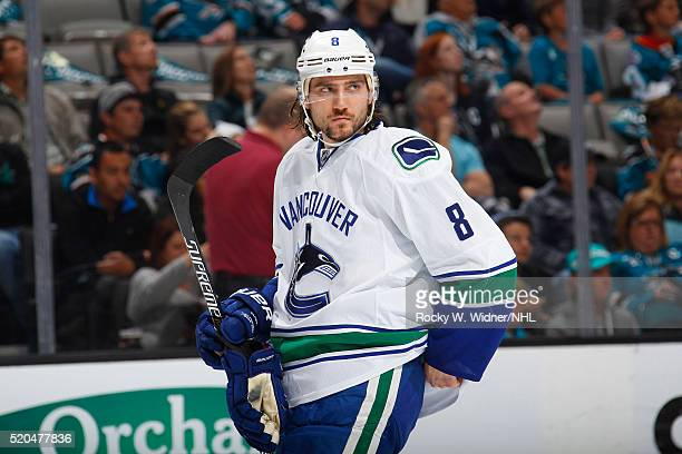Christopher Tanev of the Vancouver Canucks looks on during the game against the San Jose Sharks at SAP Center on March 31 2016 in San Jose California
