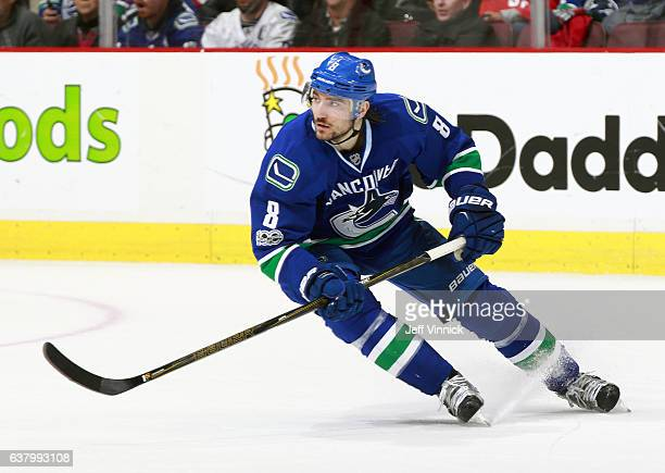 Christopher Tanev of the Vancouver Canucks skates up ice during their NHL game against the Arizona Coyotes at Rogers Arena January 4 2017 in...