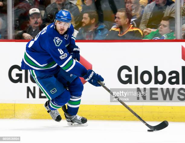 Christopher Tanev of the Vancouver Canucks skates up ice during their NHL game against the Edmonton Oilers at Rogers Arena April 8 2017 in Vancouver...