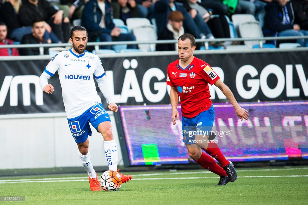 Christopher Telo of IFK Norrkoping and Carl Wede of Helsingborgs IF competes for the ball during the Allsvenskan match between IFK Norrkoping and Helsingborgs IF at Ostgotaporten on May 2, 2016 in Norrkoping, Sweden.