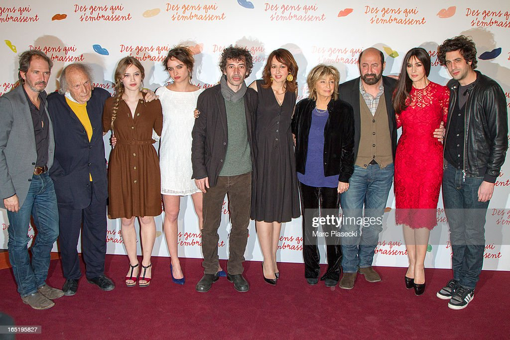 Christopher Thompson, Ivry Gittis, Lou de Laage, Clara Ponsot, Eric Elmosnino, Valerie Bonneton, Danielle Thompson, Kad Merad, Monica Bellucci and Max Boublil attend the 'Des Gens Qui S'embrassent' Premiere at Cinema Gaumont Marignan on April 1, 2013 in Paris, France.