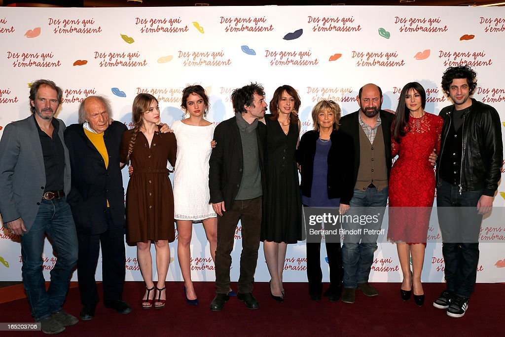 Christopher Thompson, Musician Ivry Gitlis, Actress Lou de Laage, Actress Clara Ponso, Actor Eric Elmosnino, Actress Valerie Bonneton, Director Daniele Thompson, Actor Kad Merad, Actress Monica Bellucci and Max Boublil attend 'Des gens qui s'embrassent' movie premiere at Cinema Gaumont Marignan on April 1, 2013 in Paris, France.