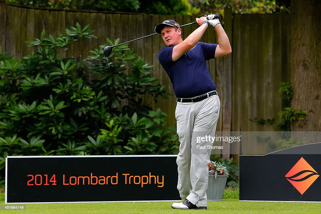 Christopher Thornton of Leamington and County Golf Club tees off during The Lombard Trophy Midland Regional Qualifier at Little Aston Golf Club on July 4, 2014 in Sutton Coldfield, England.