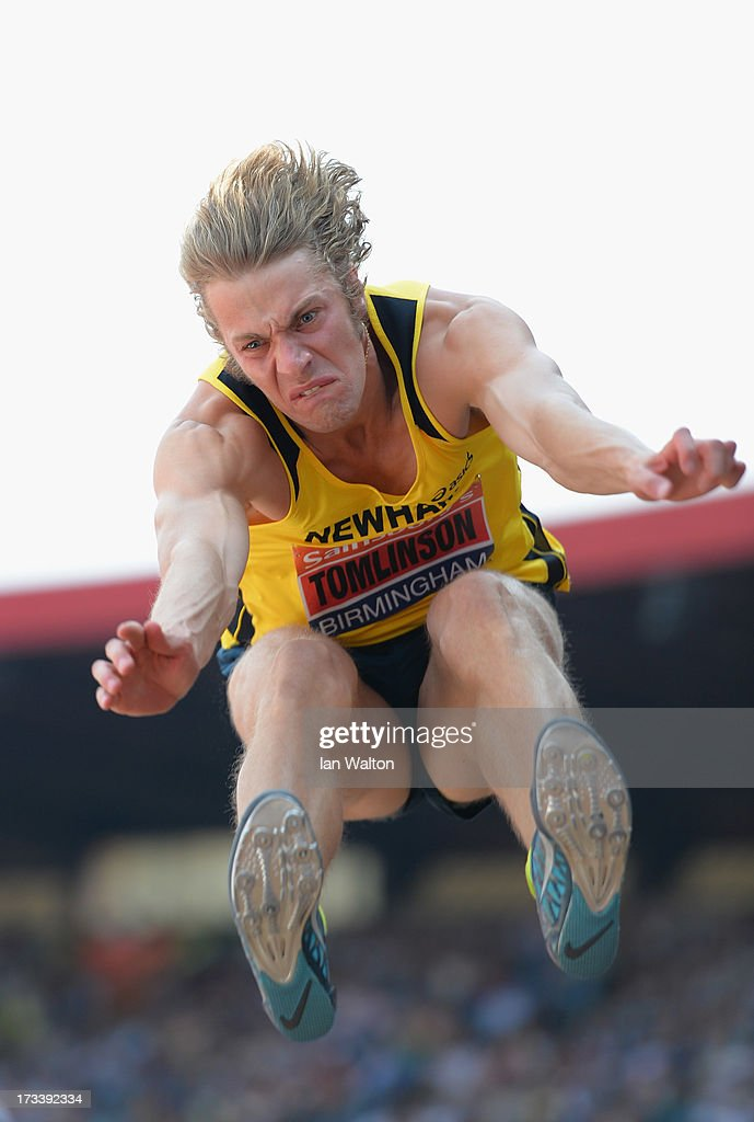 <a gi-track='captionPersonalityLinkClicked' href=/galleries/search?phrase=Christopher+Tomlinson&family=editorial&specificpeople=795113 ng-click='$event.stopPropagation()'>Christopher Tomlinson</a> in action in the mens long jump during day two of the Sainsbury's British Championships, British Athletics World Trials and UK & England Championships at Birmingham Alexander Palace on July 13, 2013 in Birmingham, England.