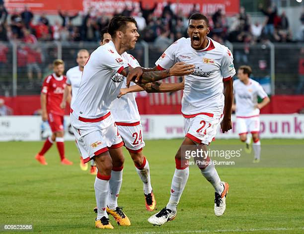 Christopher Trimmel and Collin Quaner of 1 FC Union Berlin celebrate after scoring the 10 during the Second Bundesliga match between the Wuerzburger...