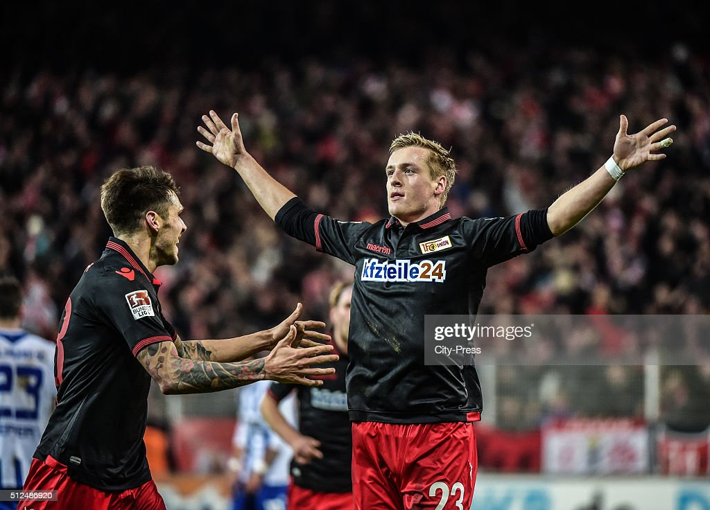Christopher Trimmel and Felix Kroos of 1 FC Union Berlin celebrate after scoring the 11 during the game between Union Berlin and Karlsruher SC on...