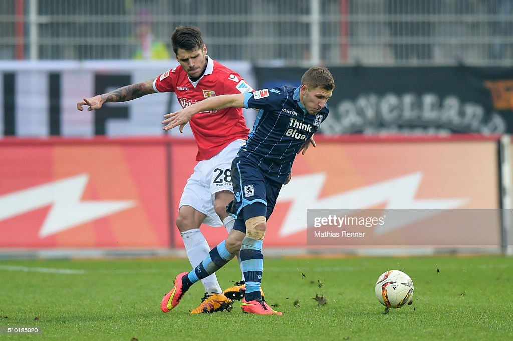 Christopher Trimmel of 1 FC. Union Berlin and Korbinian Vollmann of TSV 1860 Muenchen during the game between Union Berlin and TSV 1860 Muenchen on february 14, 2016 in Berlin, Germany.