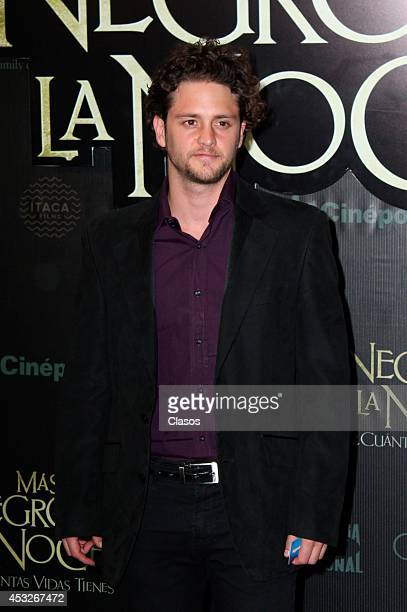 Christopher Uckermann poses for pictures during the red carpet of the movie 'Mas Negro que la Noche' at Plaza Universidad de la Ciudad de Mexico on...