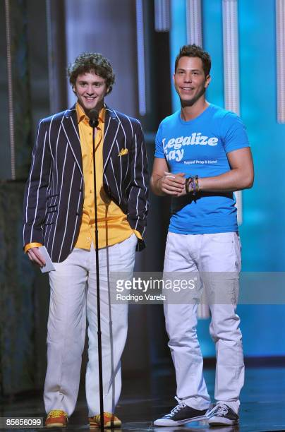 Christopher von Uckermann and Cristian Chavez on stage at the Premio Lo Nuestro at Bank United Center on MArch 26 2009 in Coral Gables Florida