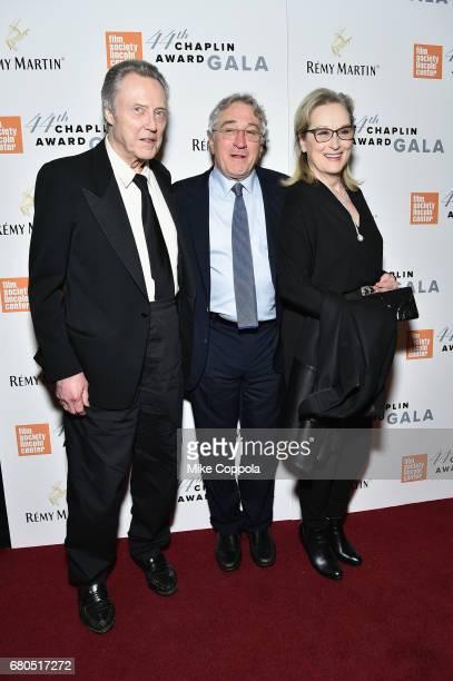 Christopher Walken Robert De Niro and Meryl Streep backstage during the 44th Chaplin Award Gala at David H Koch Theater at Lincoln Center on May 8...