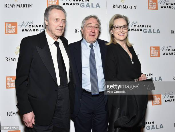 Christopher Walken Robert De Niro and Meryl Streep backstage during the 44th Chaplin Award Gala at David H Koch Theater at Lincoln Center on May 8...
