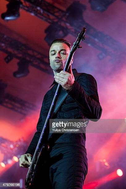Christopher Wolstenholme from Muse perform at Roskilde Festival on July 2 2015 in Roskilde Denmark