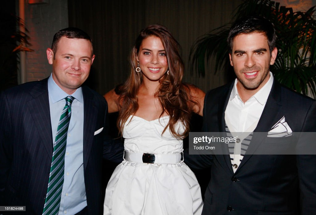 Christopher Woodrow, Lorenza Izzo and director <a gi-track='captionPersonalityLinkClicked' href=/galleries/search?phrase=Eli+Roth&family=editorial&specificpeople=543948 ng-click='$event.stopPropagation()'>Eli Roth</a> attend the Worldview Entertainment Cocktail Party and Dinner at Brassaii Restaurant and Lounge during the 2012 Toronto International Film Festival at Brassaii on September 11, 2012 in Toronto, Canada.