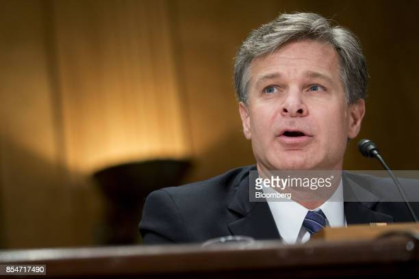 Christopher Wray director of the Federal Bureau of Investigation speaks during a Senate Homeland Security Committee hearing in Washington DC US on...