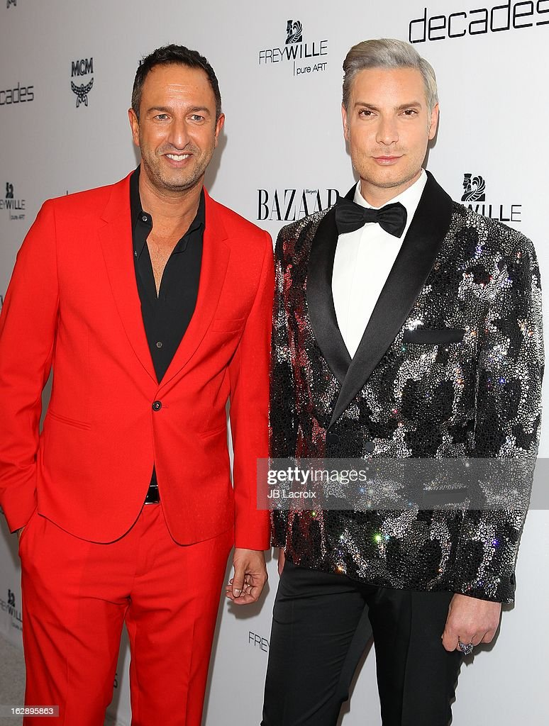 Christos Garkinos and Cameron Silver attend the Dukes Of Melrose launch hosted by Decades and Harper's BAZAAR at The Terrace at Sunset Tower on February 28, 2013 in West Hollywood, California.