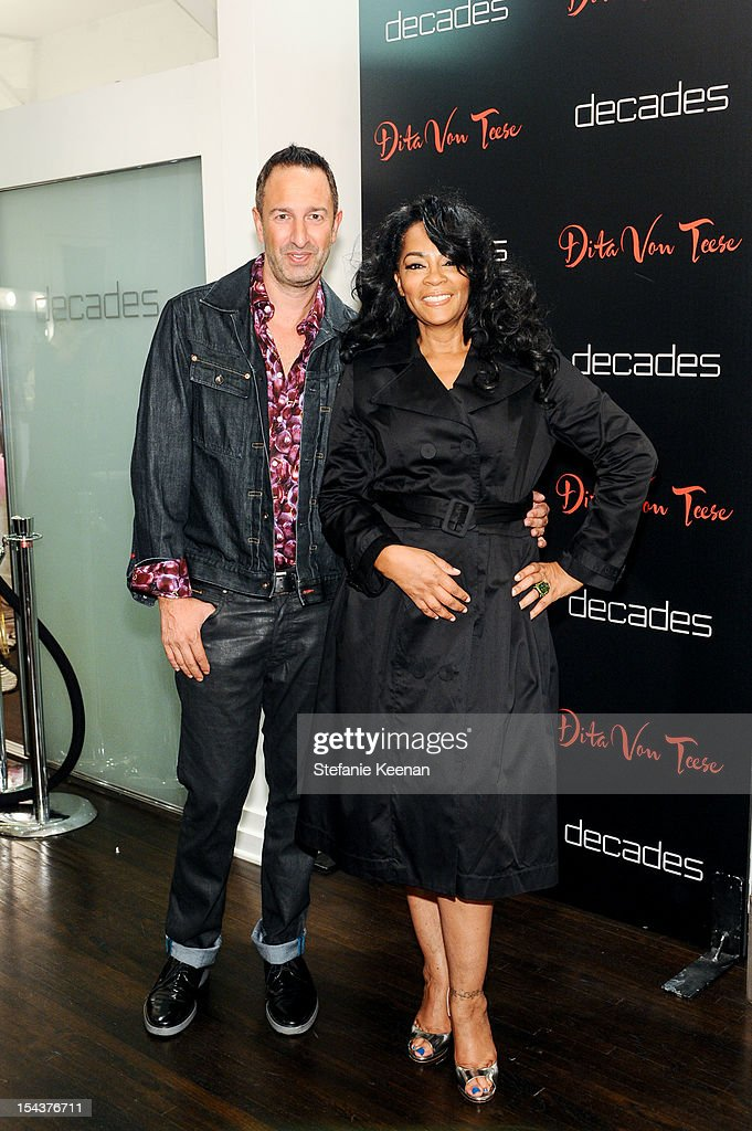 Christos Garkinos and <a gi-track='captionPersonalityLinkClicked' href=/galleries/search?phrase=Jody+Watley&family=editorial&specificpeople=1186444 ng-click='$event.stopPropagation()'>Jody Watley</a> attend Dita Von Teese Collection Launch At Decades on October 18, 2012 in Los Angeles, California.