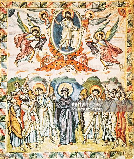 Christ's Ascension miniature from the Rabula Gospels Syria 6th Century
