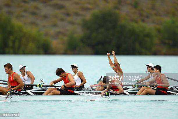 Christs College celebrates winning the boys under17 coxed eight final during the South Island Club Championships at Lake Ruataniwha on February 2...