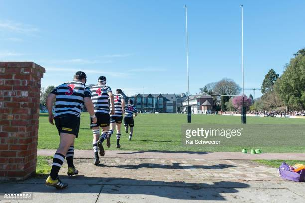 Christ's College players run out prior to the Christchurch High School Semi Final match between Christ's College and Timaru Boys' High School on...