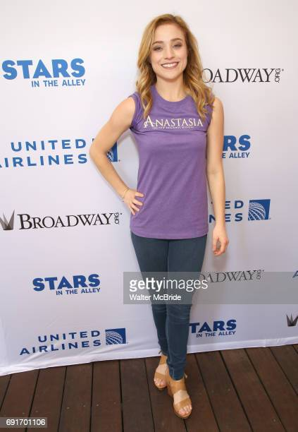 Christy Altomare backstage at United Airlines Presents #StarsInTheAlley free outdoor concert in Shubert Alley on 6/2/2017 in New York City