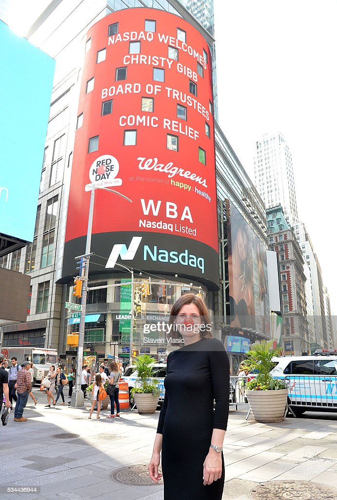 Christy Gibb, Board of Trustees, Comic Relief, the non-profit behind Red Nose Day visits The NASDAQ Opening Bell In Celebration Of Red Nose Day at NASDAQ MarketSite on May 26, 2016 in New York City.