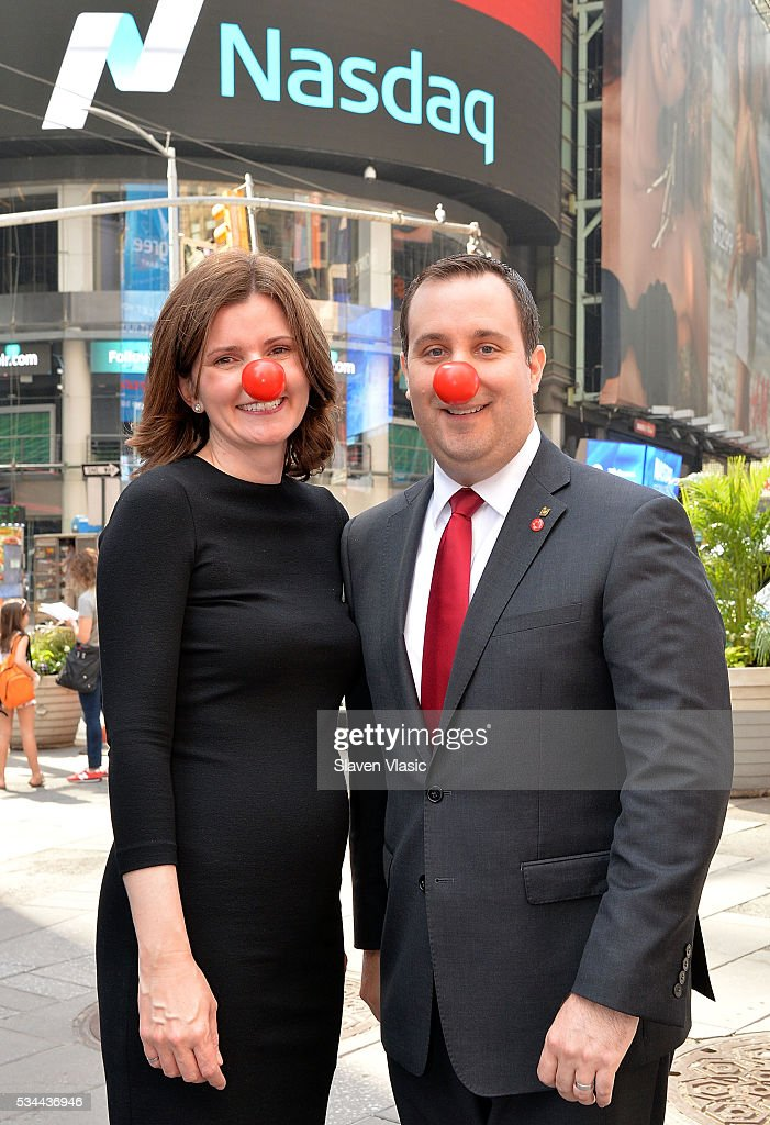 Christy Gibb, Board of Trustees, Comic Relief, the non-profit behind Red Nose Day and Skip Bourdo, Corporate Operations Vice President of Walgreens visit The NASDAQ Opening Bell In Celebration Of Red Nose Day at NASDAQ MarketSite on May 26, 2016 in New York City.