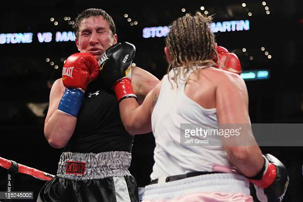 Christy Martin connects to the head of Dakota Stone during their welterweight bout at Staples Center on June 4 2011 in Los Angeles California