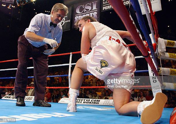 Christy Martin is counted out by referee Fred Steinwinder after being knocked down by Laila Ali in the fourth round on August 23 2003 at the...