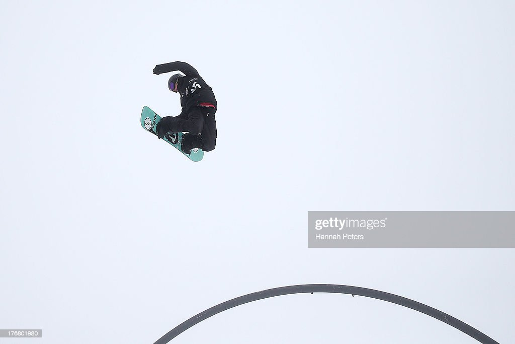 Christy Prior of New Zealand competes in qualifying for FIS Snowboard Slopestyle World Cup Finals during day five of the Winter Games NZ at Cardrona Alpine Resort on August 19, 2013 in Wanaka, New Zealand.