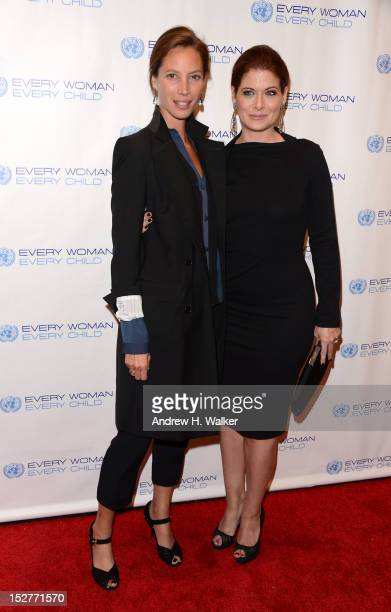 Christy Turlington and actress Debra Messing attend United Nations Every Woman Every Child Dinner 2012 on September 25 2012 in New York United States