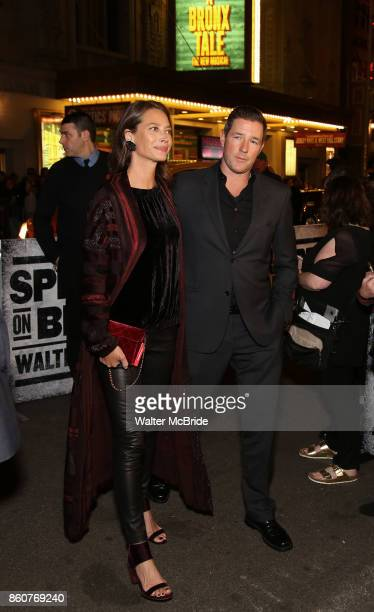 Christy Turlington and Ed Burns attend the opening night performance for 'Springsteen on Broadway' at The Walter Kerr Theatre on October 12 2017 in...