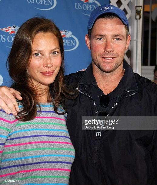 Christy Turlington and Ed Burns during 2004 US Open Red Carpet Event for Celebrities and VIPs During Women's Single Finals at USTA National Tennis...