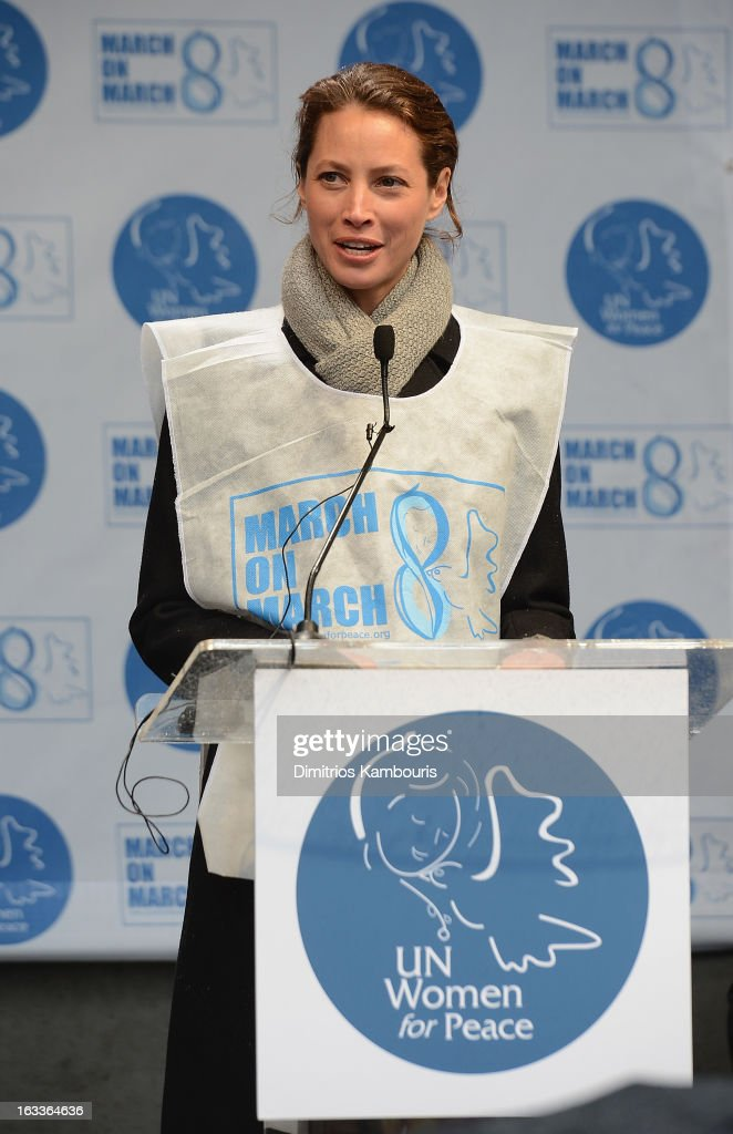 Christy Turlington attends the March On March 8 at United Nations on March 8, 2013 in New York City.