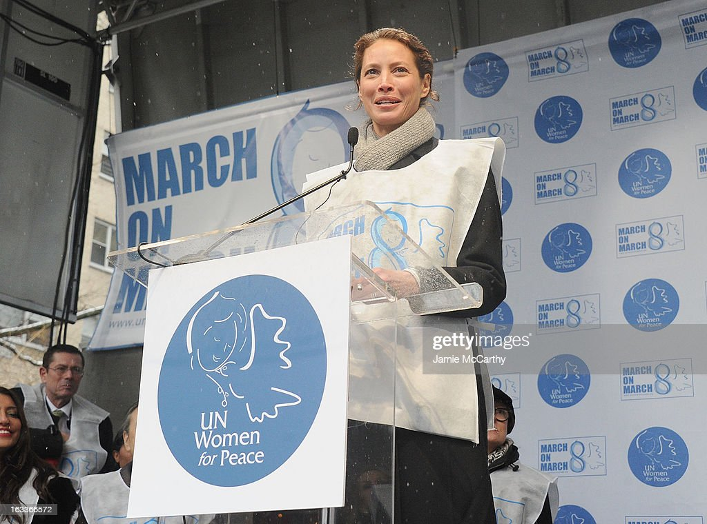 <a gi-track='captionPersonalityLinkClicked' href=/galleries/search?phrase=Christy+Turlington&family=editorial&specificpeople=207046 ng-click='$event.stopPropagation()'>Christy Turlington</a> attends the March On March 8 at United Nations on March 8, 2013 in New York City.