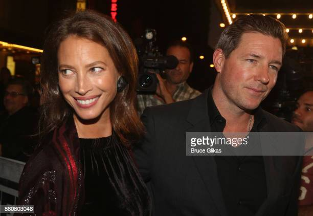 Christy Turlington Burns and Edward Burns pose at the opening night arrivals for 'Springsteen on Broadway' at The Walter Kerr Theatre on October 12...