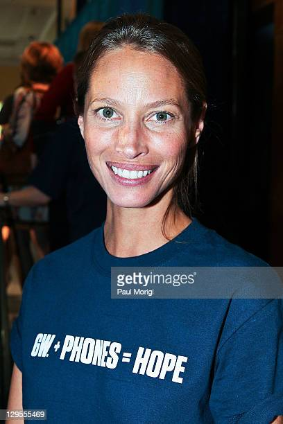 Christy Turlington Burns attends the GW Phones For Hope Kickoff Rally at the Marvin Center at George Washington University on October 18 2011 in...