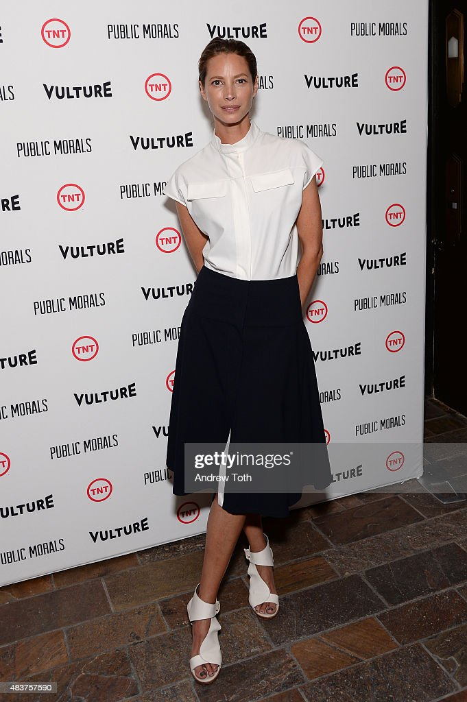 Christy Turlington Burns attends the 'Public Morals' New York series screening at Tribeca Grand Screening Room on August 12, 2015 in New York City.
