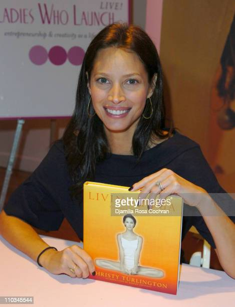 Christy Turlington Burns holds a copy of her book at The Ladies Who Launch Live Networking Event at the Altman Building on October 17th 2007 in New...
