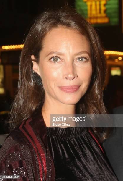 Christy Turlington Burns poses at the opening night arrivals for 'Springsteen on Broadway' at The Walter Kerr Theatre on October 12 2017 in New York...