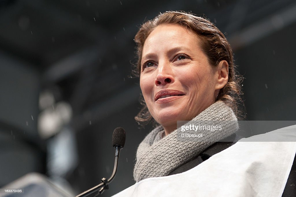 Christy Turlington Burns speaks on stage during the March On March 8 at the United Nations on March 8, 2013 in New York City.